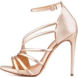 Schutz Adeline Strappy Metallic Rose Gold Heel 8.5